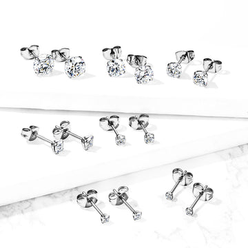 .925 Sterling Silver Stud Earrings Pair