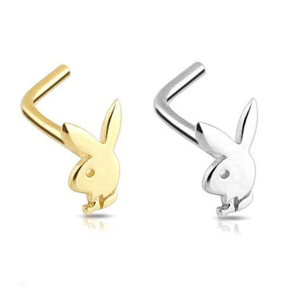 14kt Gold Playboy Nose L Bend 20G-My Body Piercing Jewellery
