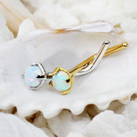 14kt Gold Opal Nose L Bend 20G
