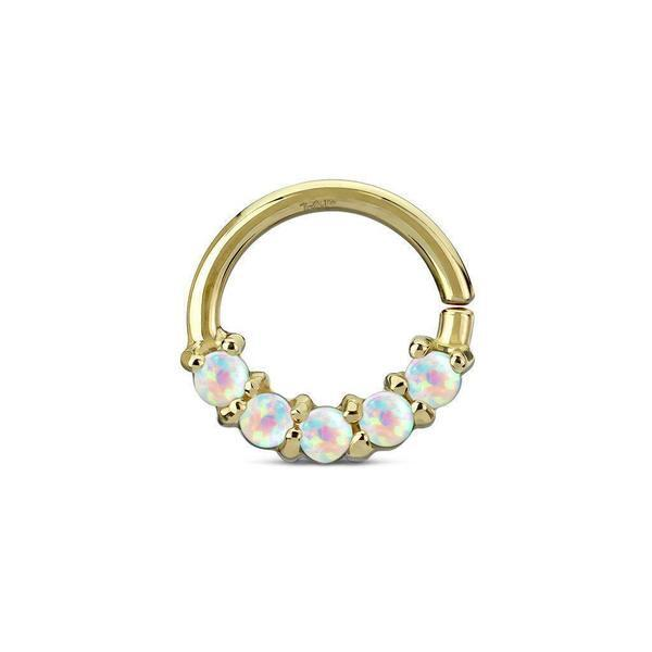 14kt Yellow Gold 5 Opal Ring 16G 8mm-My Body Piercing Jewellery