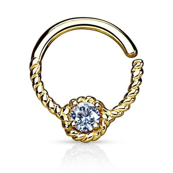 14kt Yellow Gold Braided Gem Ring 16G 9mm