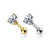14kt Gold Prong Set Gem Cartilage Bar 16G 6mm-My Body Piercing Jewellery