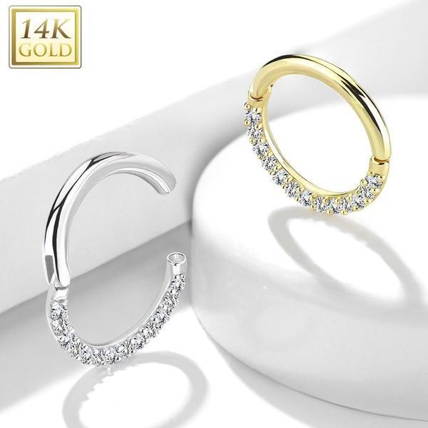 14kt Yellow Gold Paved Hinged Ring 16G 8mm