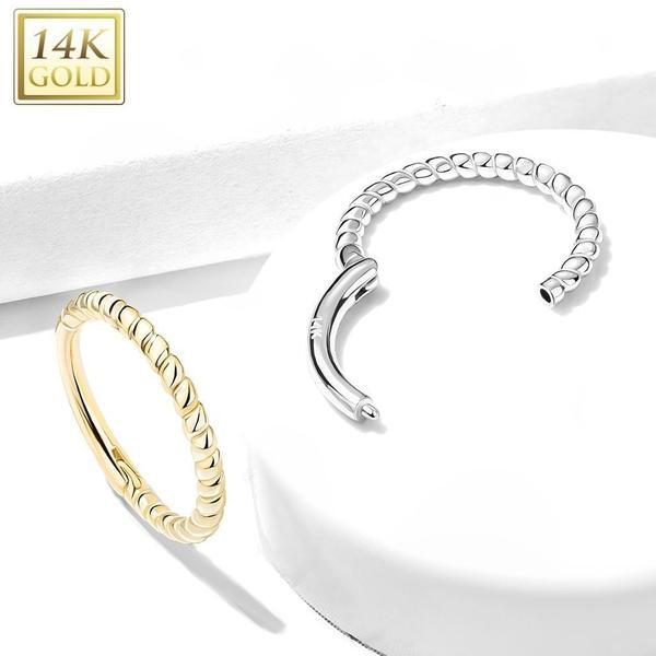 14kt Gold Twisted Hinged Ring 16G