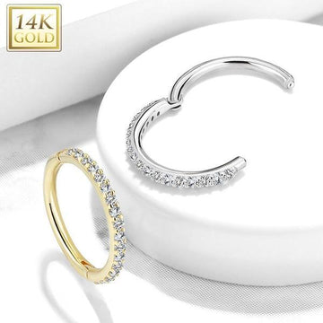 14kt Gold Side Paved Hinged Ring 16G
