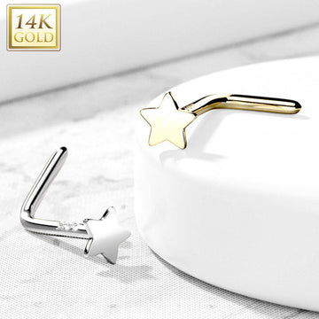 14kt Gold Star Nose L Bend 20G