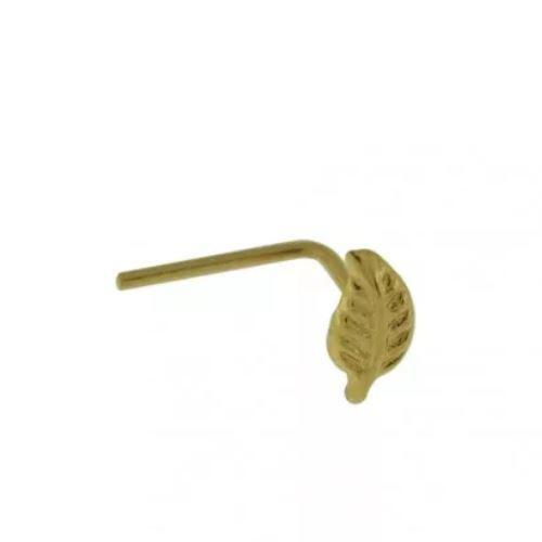 9kt Yellow Gold Feather Nose L Bend 22G-My Body Piercing Jewellery