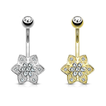 14kt Gold Flower Belly Bar 14G