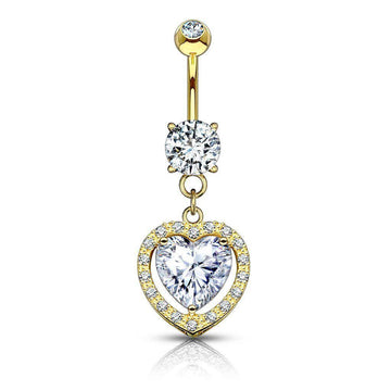 14kt Yellow Gold Solitaire Heart Dangle Belly Bar 14G