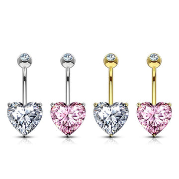 14kt Gold Heart Gem Belly Bar 14G