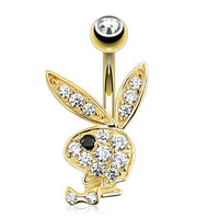 14kt Yellow Gold PLAYBOY Belly Bar 14G-My Body Piercing Jewellery