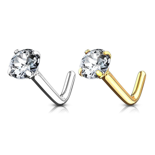 14kt Gold Prong Set Gem Nose L Bend 20G 18G-My Body Piercing Jewellery
