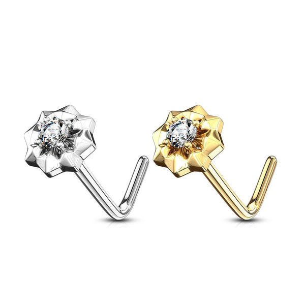 14kt Gold Starburst Nose L Bend 20G-My Body Piercing Jewellery