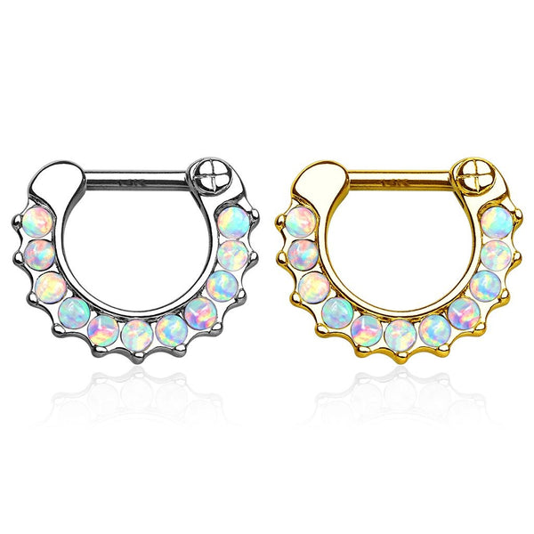 14kt Gold Opal Paved Septum Clicker 16G-My Body Piercing Jewellery