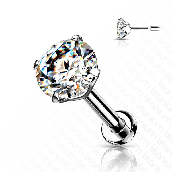 Solid Titanium Threadless Prong Set Gem Labret 20G 18G 16G-My Body Piercing Jewellery