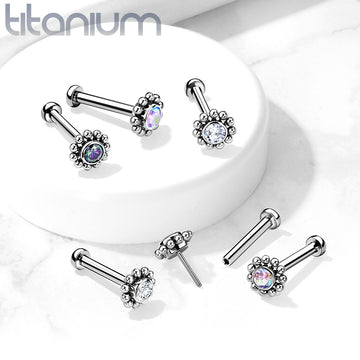 Solid Titanium Threadless Beaded Gem Labret 18G 16G