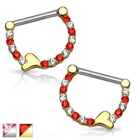 Heart Nipple Clicker PAIR 14G-My Body Piercing Jewellery