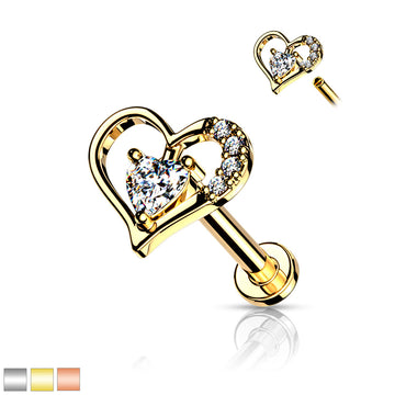Gem Heart Internally Threaded Labret 16G