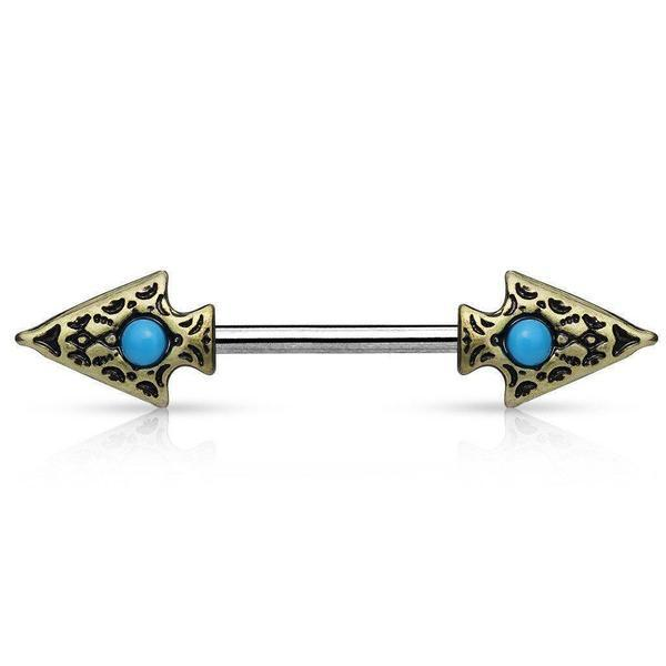 Turquoise Tribal Spear Nipple Bar 14G-My Body Piercing Jewellery