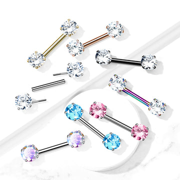 Threadless Gem Nipple Bar 14G