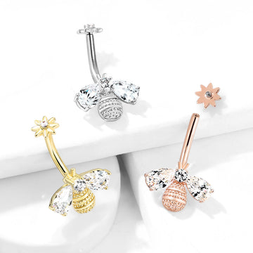 Bee and Flower Belly Bar 14G