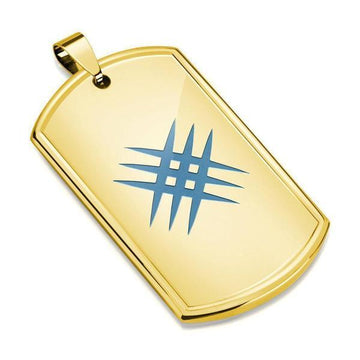 Gold Lazer Etched Stainless Steel Pendant