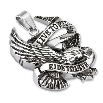 Live To Ride Stainless Steel Pendant