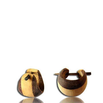 Two Tone Wood Pin Earring Pair