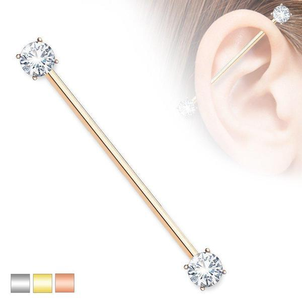 Gem End Industrial Bar 14G 38mm-My Body Piercing Jewellery