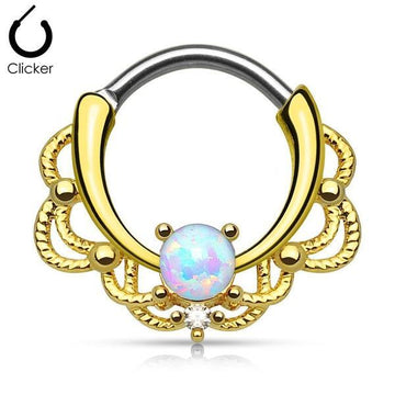 14kt Gold Plated Filigree Opal Septum Clicker 16G