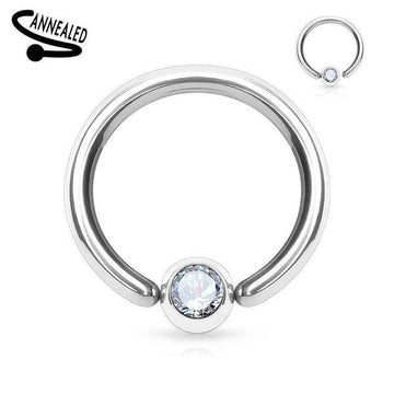 Fixed Side Gem Captive Ring 16G - 14G