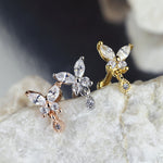 Gem Butterfly Dangle Cartilage Bar 16G