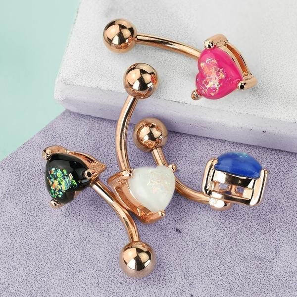 Opal Glitter Heart Belly Bar 14G-My Body Piercing Jewellery