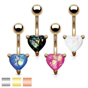 Opal Glitter Heart Belly Bar 14G