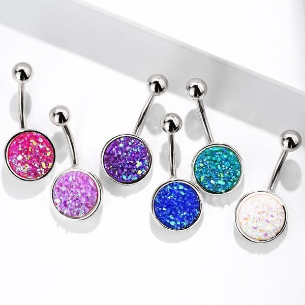 Druzy Resin Belly Bar 14G