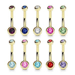 Gold Plated Gem Ball Belly Bar 14G-My Body Piercing Jewellery