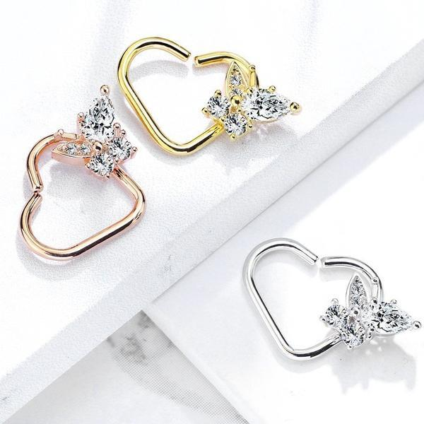 Butterfly Heart Ring 16G