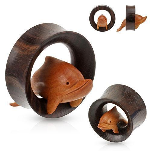 Hand Crafted Dolphin Wood Tunnel PAIR 19mm - 35mm-My Body Piercing Jewellery