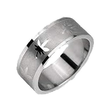 Pot Leaf Engraved Ring