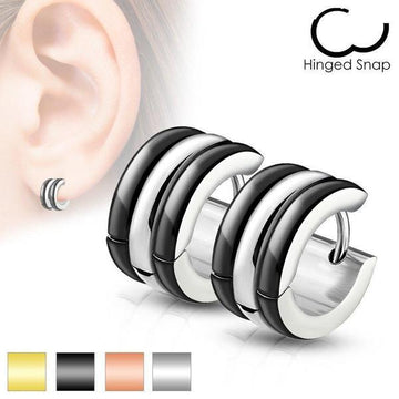 Triple Dome Huggies Earrings Pair