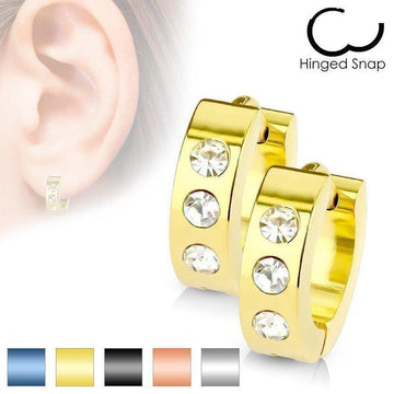 Triple Gem Huggies Earrings Pair