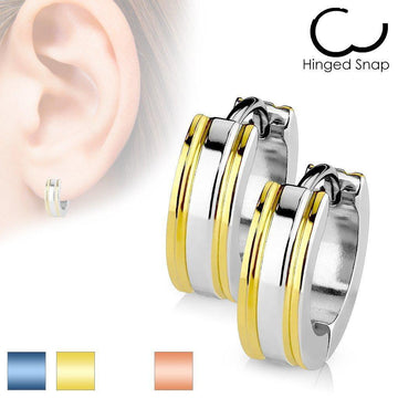 Two Tone Huggies Earrings Pair