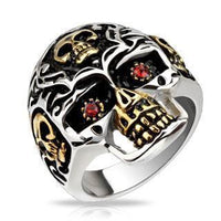 Gold Accent Red Eyed Skull Ring-My Body Piercing Jewellery