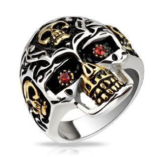 Gold Accent Red Eyed Skull Ring
