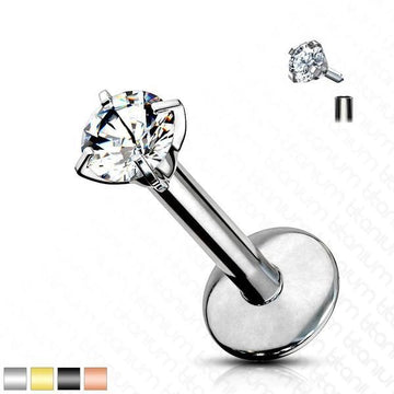 Solid Titanium Prong Set Gem Labret 16G