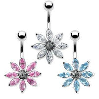 Solid Titanium Large Flower Belly Bar 14G