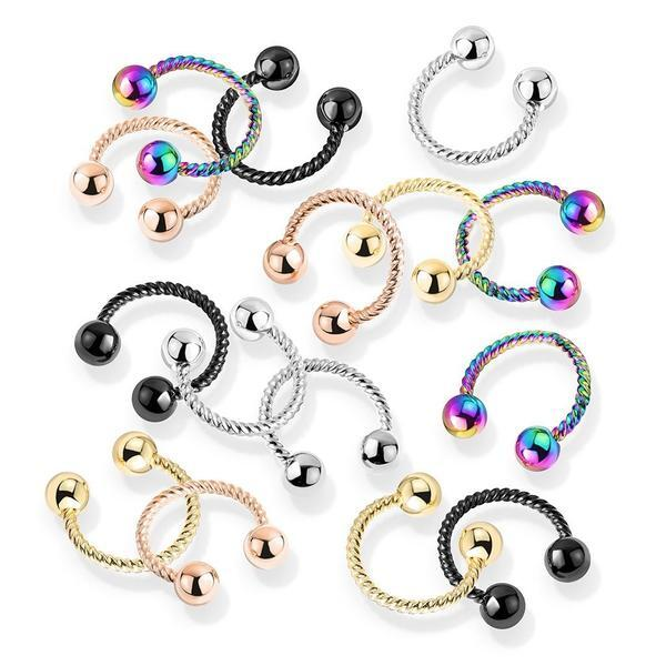 Twisted Horseshoe 16G 14G-My Body Piercing Jewellery