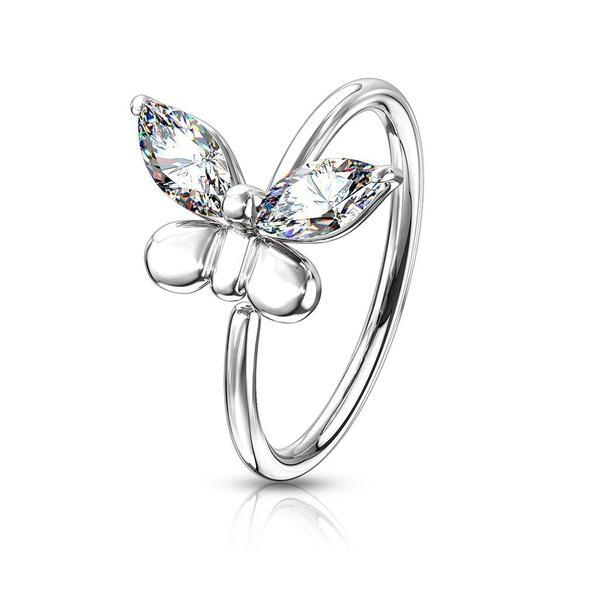 Gem Butterfly Nose Ring 20G
