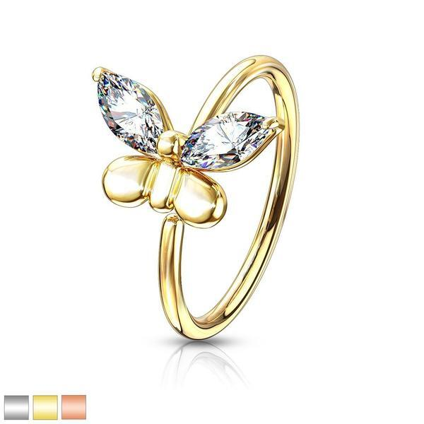 Gem Butterfly Nose Ring 20G-My Body Piercing Jewellery