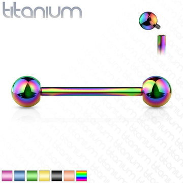 Solid Titanium Internally Threaded Barbell 14G